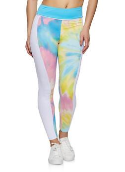 Color Block Printed Leggings - 1056001440101