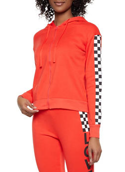 Checkered Detail Zip Front Sweatshirt - 1056001441010