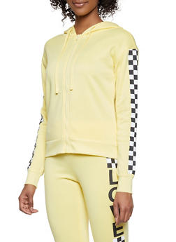 Checkered Detail Zip Front Sweatshirt - 1056001441010