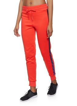 Love Graphic Tape Trim Sweatpants - 1056001441021