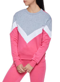 Chevron Color Block Sweatshirt - 1056001441030