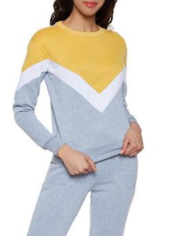Chevron Color Block Sweatshirt - 1056001441030