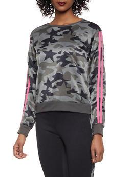 Camo Star Print Varsity Stripe Sweatshirt - OLIVE - 1056001441050