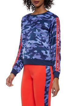 Camo Star Print Varsity Stripe Sweatshirt - NAVY - 1056001441050