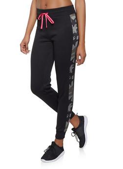 Camo Trim Sweatpants - BLACK - 1056001441051