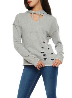 Gray Distressed Open Neck Hooded Sweatshirt - 1056001446950