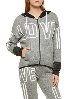 Love Graphic Zip Up Sweatshirt - 1056038342858