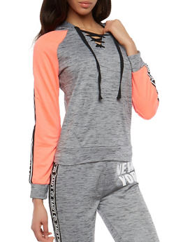 Lace Up Graphic Trim Activewear Sweatshirt - 1056038342864