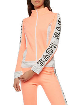 Love Graphic Color Blocked Zip Activewear Top - 1056038342866