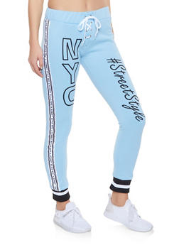 Street Style Graphic Lace Up Joggers - 1056038343535