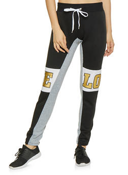 Love Graphic Color Block Joggers - 1056038343536