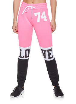 Love Graphic Color Block Sweatpants - 1056038343542