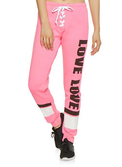 Love Graphic Lace Up Sweatpants - 1056038343544
