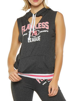 Graphic Keyhole Hooded Tank Top - 1056038346101