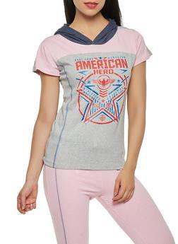 American Hero Graphic Hooded Tee - 1056038346110