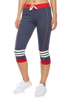 Striped Knee Capri Sweatpants - 1056038346111