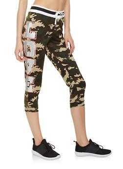 Love Graphic Capri Sweatpants - 1056038346131