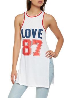 Love Graphic Tunic Tank Top - 1056038346160