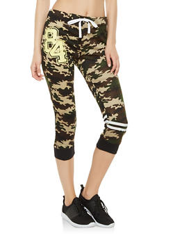Graphic Capri Sweatpants - CAMOUFLAGE - 1056038346181