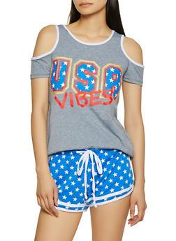 USA Vibes Cold Shoulder Tee - 1056038346340