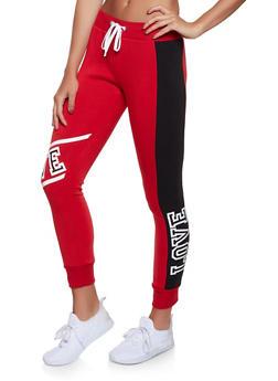 Love Color Block Fleece Sweatpants - 1056038347021