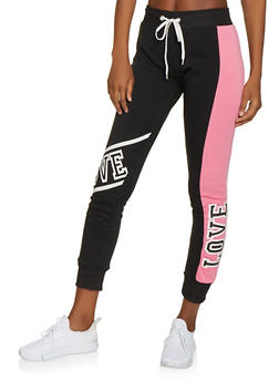 Love Color Block Fleece Sweatpants - 1056038347021