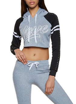 Rhinestone Studded Love Cropped Sweatshirt - 1056038347062