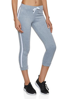 Side Stripe Rhinestone Studded Joggers - 1056038347063