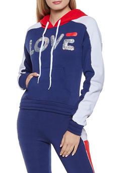 Sequin Love Pullover Sweatshirt - 1056038347082