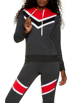 Chevron Color Block Hooded Sweatshirt - 1056038347132