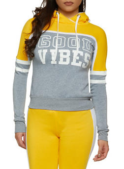 Good Vibes Sherpa Lined Hood Sweatshirt - 1056038347214