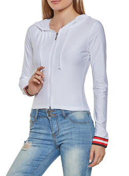 Striped Tape Detail Zip Front Active Top - 1056038347242
