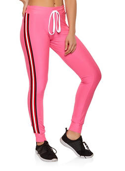 Striped Tape Drawstring Waist Joggers - 1056038347243