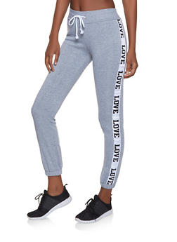 Love Graphic Tape Sweatpants - 1056038347271