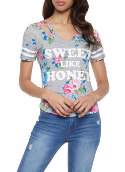Floral Sweet Like Honey Graphic Tee - 1056038347305