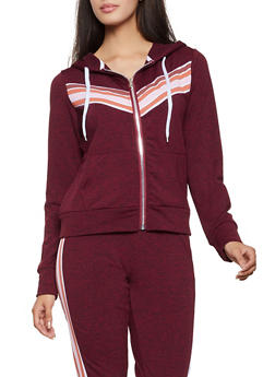 Chevron Detail Zip Up Sweatshirt - 1056038347308