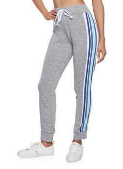 Striped Detail Fleece Lined Joggers - 1056038347309