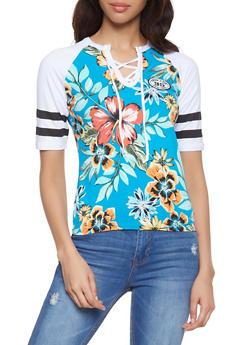 Floral Color Block Raglan Tee - 1056038347310