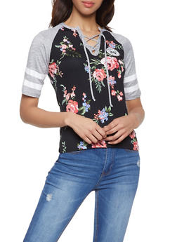 Floral Color Block Raglan Tee - 1056038347310