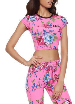Love Graphic Cropped Floral Tee - 1056038347322