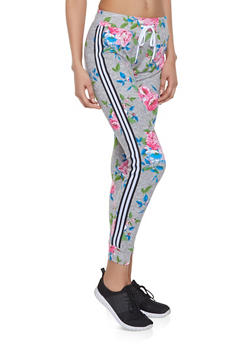 Striped Tape Trim Printed Joggers - 1056038347335