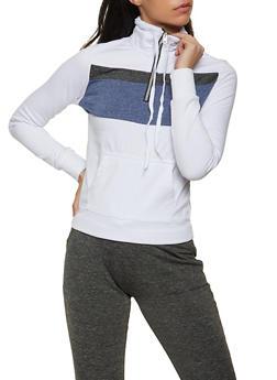 Color Block Zip Neck Pullover Sweatshirt - 1056038347336