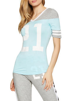 21 Graphic Varsity Stripe Tee - 1056038347344