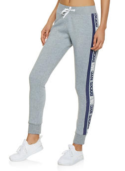 NYC Rocks Graphic Tape Sweatpants - 1056038347361