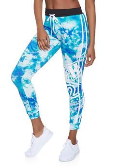 Printed Varsity Stripe Joggers - Blue - Size L - 1056038347363