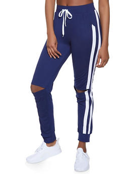 Side Stripe Distressed Joggers - 1056038347373