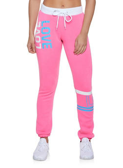 Fleece Lined Love Sweatpants - 1056038347402
