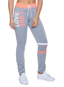 Fleece Lined Love Sweatpants - 1056038347402