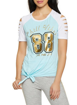 206c9bb02cf Chill Vibes Tie Front Slashed Sleeve Tee - 1056038347404