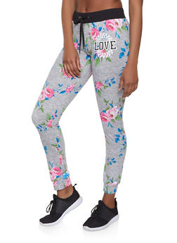 Love Graphic Floral Joggers - 1056038347413
